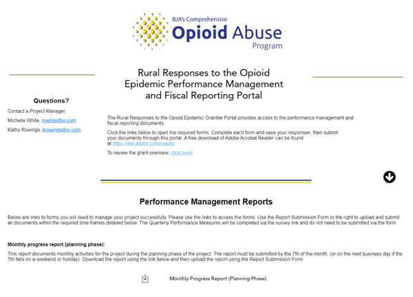 Screenshot of the Rural Responses to the Opioid Epidemic Performance Management and Fiscal Reporting Portal